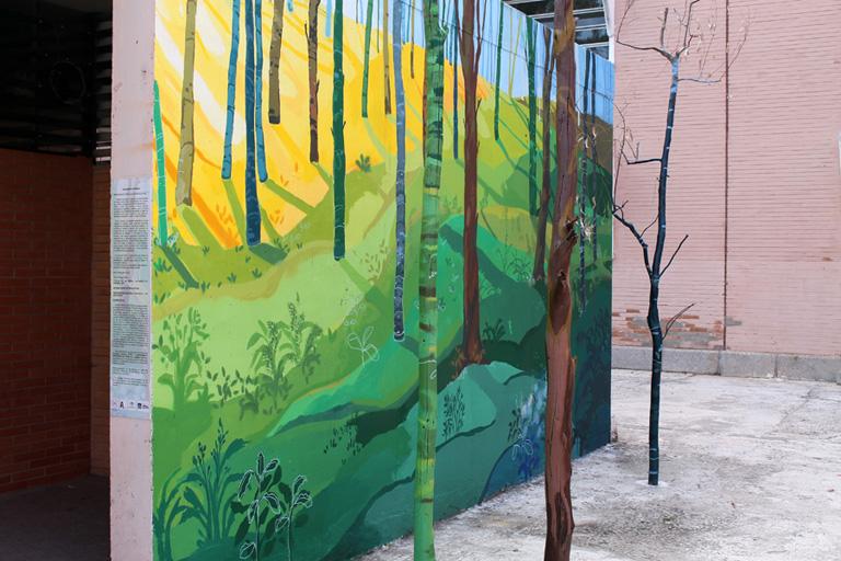 María Ortega Estepa. Viajando el paraíso. Mural Universidad Pablo de Olavide