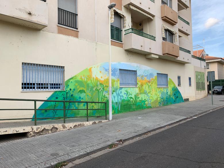 María Ortega Estepa. Mural en el Centro Social Zona Sur, Mérida. Proyecto Murales con Objetivos