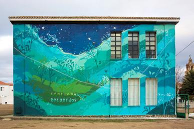 María Ortega Estepa. Mural Contiene Recuerdos. Berlanga, Badajoz