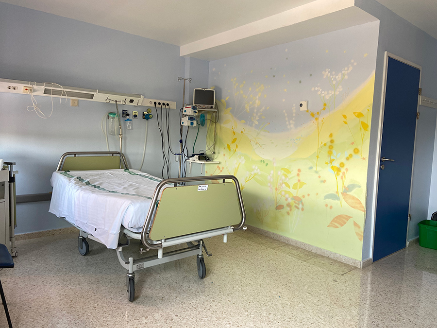 Hospital de Mérida - Área Paritorios. Mural María Ortega Estepa
